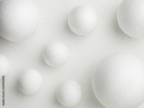 Fototapety, obrazy: upper view of white spheres on a white background