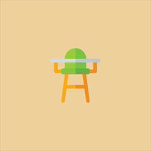 High Chair Icon Flat Design