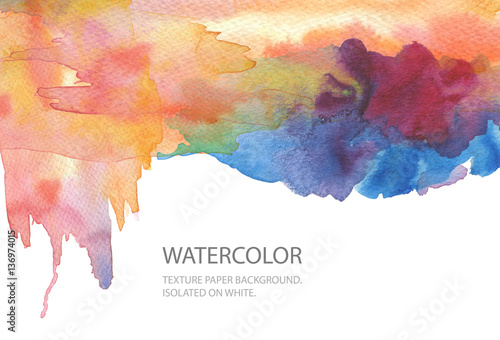 Abstract watercolor blot painted background. Texture paper. Isol