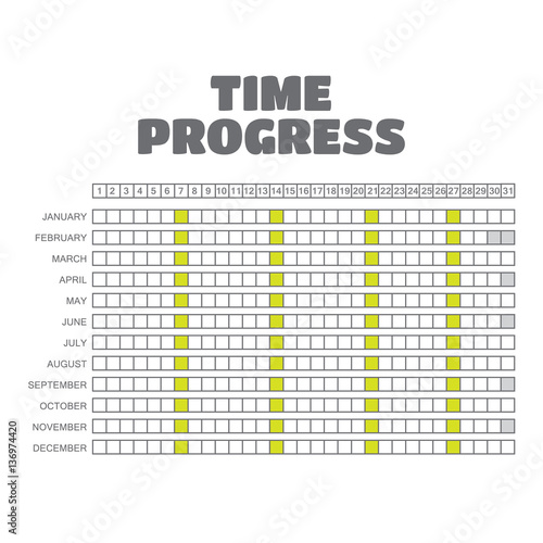 Vector timeline progress graph, gantt chart of project