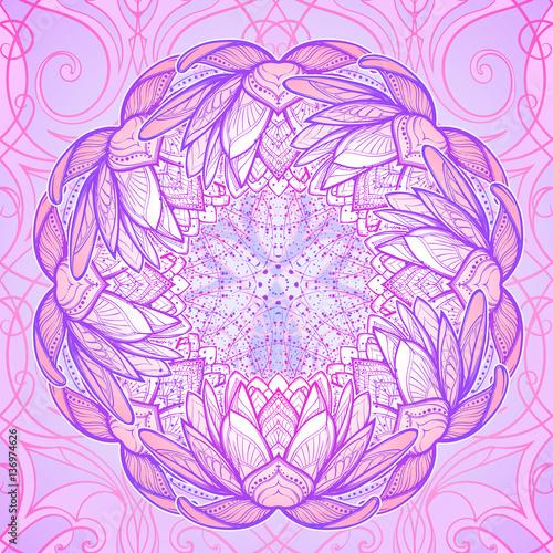 Lotus flower mandala intricate stylized linear drawing isolated on lotus flower mandala intricate stylized linear drawing isolated on pattern background concept art for mightylinksfo