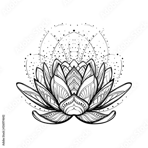 Lotus flower intricate stylized linear drawing isolated on white lotus flower intricate stylized linear drawing isolated on white background concept art for hindu mightylinksfo