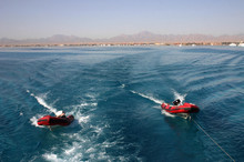 Inflatable Rubber Boat Tied To The Boat, Red Sea, Egypt