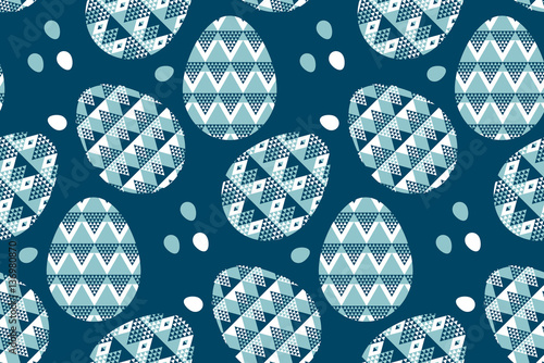 Cotton fabric tribal geometry blue easter egg decoration seamless pattern. vec