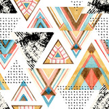 Abstract watercolor triangle seamless pattern. - 136986039