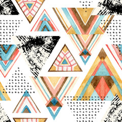 Naklejka Boho Abstract watercolor triangle seamless pattern.
