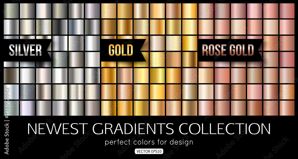 Fototapety, obrazy: Set of rose gold, silver gradients. Shiny gold texture, vector illustration.