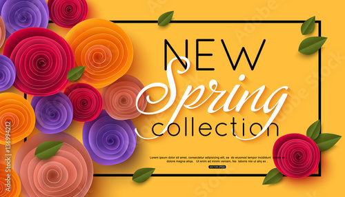 Spring banner with paper flowers for online shopping advertising spring banner with paper flowers for online shopping advertising actions magazines and websites mightylinksfo