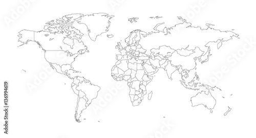 Fotografia  Outline Illustration of the world (with country borders)