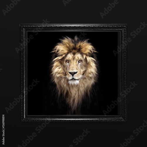 Stampe  Portrait of a Beautiful lion, lion in the dark, oil paints, soft