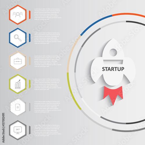 Fotografie, Obraz  Startup vector infographics