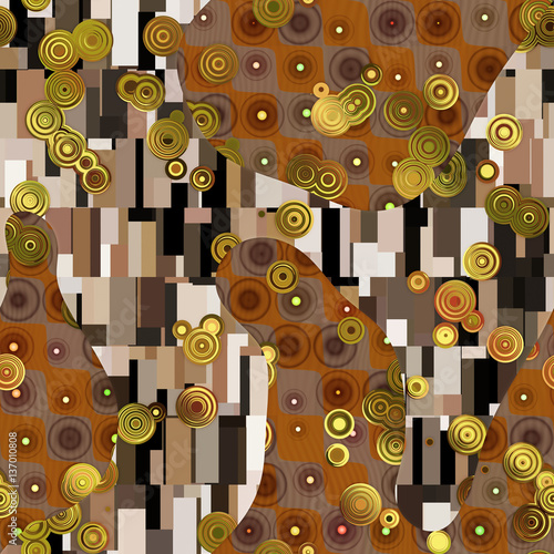 Abstract pattern in Gustav Klimt style  - 137010808