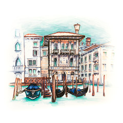 Panel Szklany Miasta Palazzo in Venetian Gothic style on the Grand Canal in summer day, Venice, Italy. Picture made liner and markers
