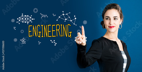 Fotografie, Obraz  Engineering text with business woman