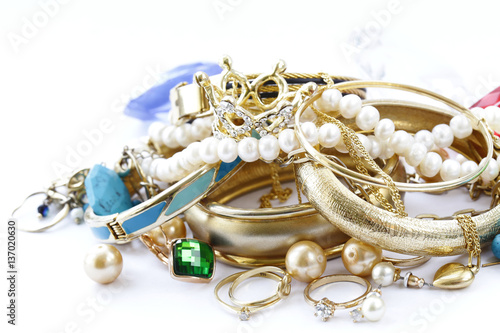 Photo gold jewelry and pearls, bracelets and chains