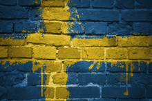 Painted National Flag Of Sweden On A Brick Wall