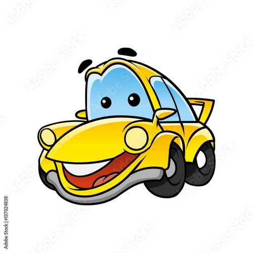 cheerful car character
