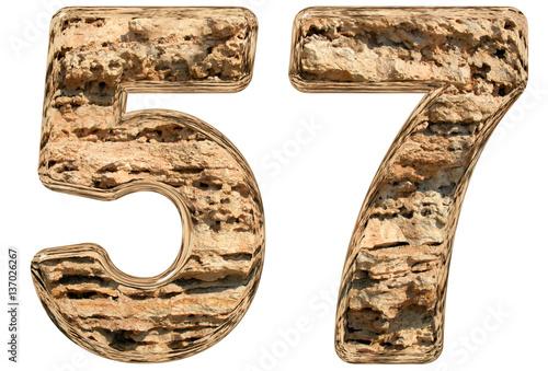 Fotografie, Obraz  Numeral 57, fifty seven, isolated on white, natural limestone, 3