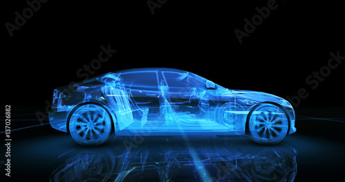 Photo  Sport car wire model with blue neon ob black background
