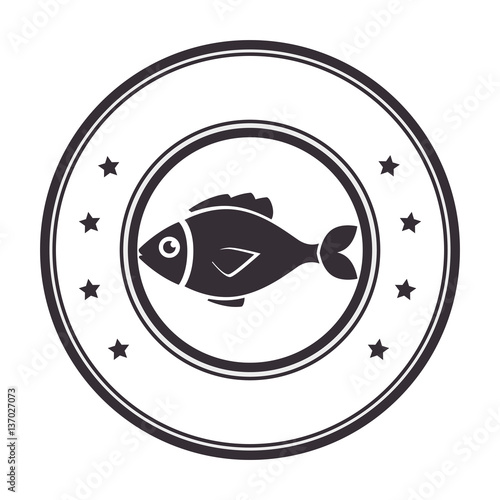 Silhouette Circular Stamp With Fish Animal Marine Design Vector Illustration