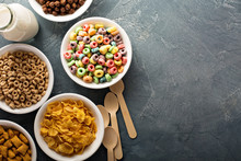 Variety Of Cold Cereals In Whi...