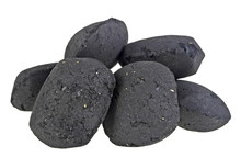 Charcoal Briquettes On White B...