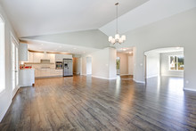 Spacious Rambler Home Interior With Vaulted Ceiling