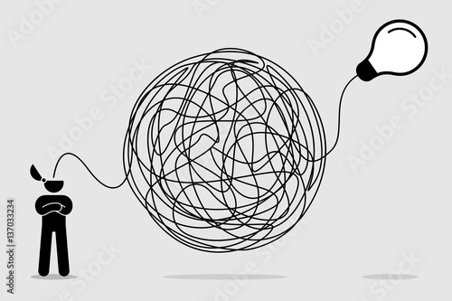 Man searching and thinking of idea through a complicated and chaotic way. Vector artwork depicts haywire, chaos, intellect, mind, and brainwork.
