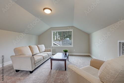 Vaulted Ceiling Family Room Interior With Grey Paint Color Buy This Stock Photo And Explore Similar Images At Adobe Stock Adobe Stock,Kitchen Checklist For First Home