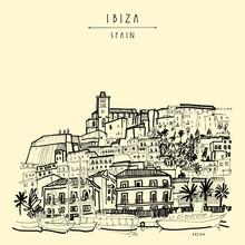 Old Town In Ibiza, Spain, Europe. Ibiza Castle