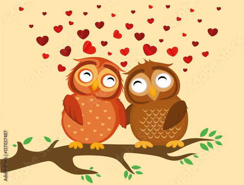 Wall Murals Birds, bees A pair of cute owlet sitting on a branch. Owls in love hearts