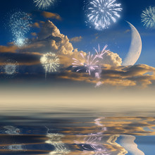 Clouds, Moon & Fireworks