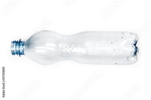 Top View Empty Plastic Bottle Isolated on White Background