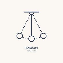 Simple Pendulum Vector Line Icon. Physics Sign. Perpetuum Mobile Logo.