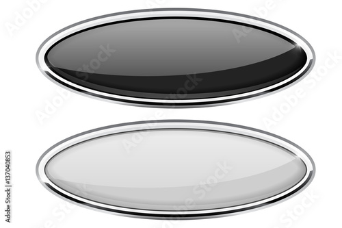 Black and white oval buttons with chrome frame Canvas Print