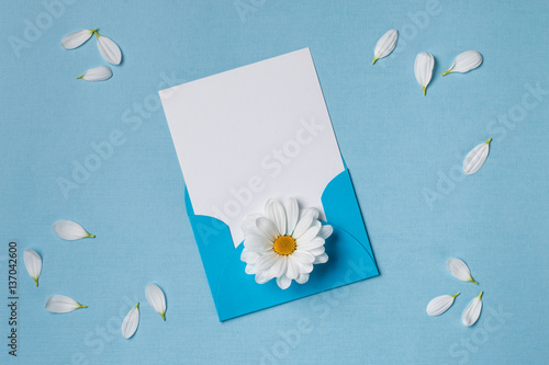 Spring top view composition: blank stationary template / invitation ...