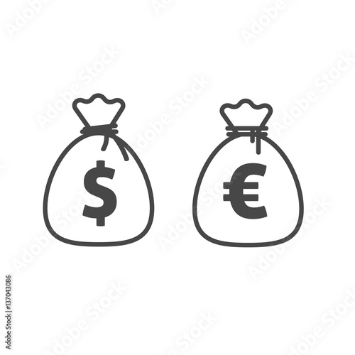 Money Bag Vector Icon Line Outline Style Dollar And Euro Currency