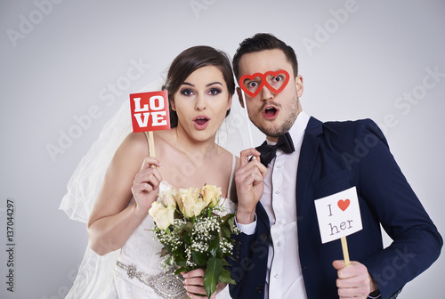 Fotografie, Obraz  Studio shot of funny and young marriage