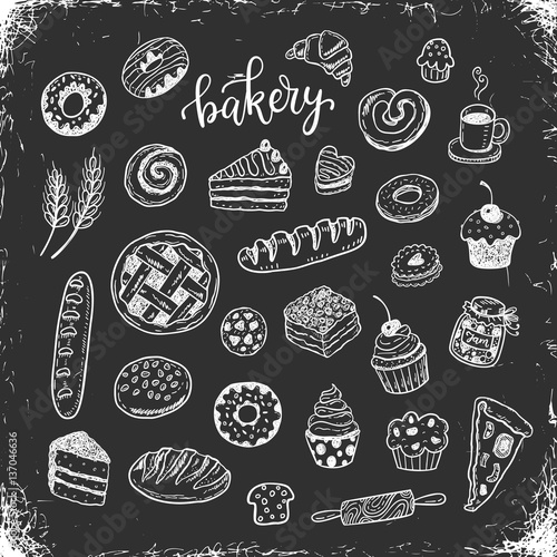 Valokuva  Hand drawn bakery, food doodles on a chalkboard background