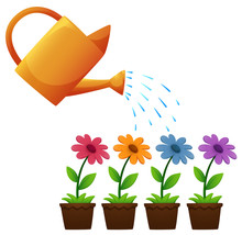 Watering Can And Flowers In Garden