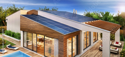 Obraz Modern house with solar panels on the roof - fototapety do salonu