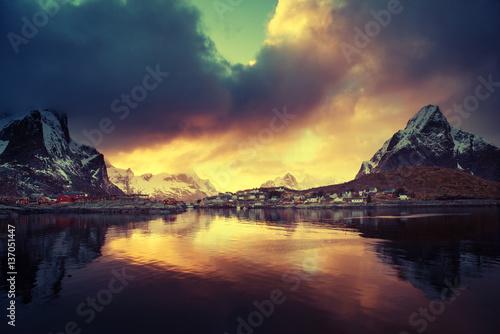 Poster Scandinavie Sunset at Reine, Lofoten islands, Norway