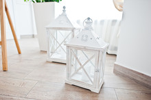 Closed Lantern For Candle At Wooden Box On Wedding Reception.