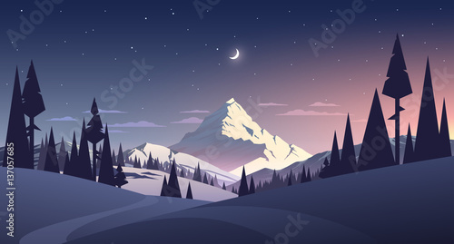 Photo  night landscape with mountain and moon