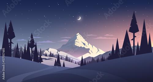 nocny krajobraz z górami i księżycem