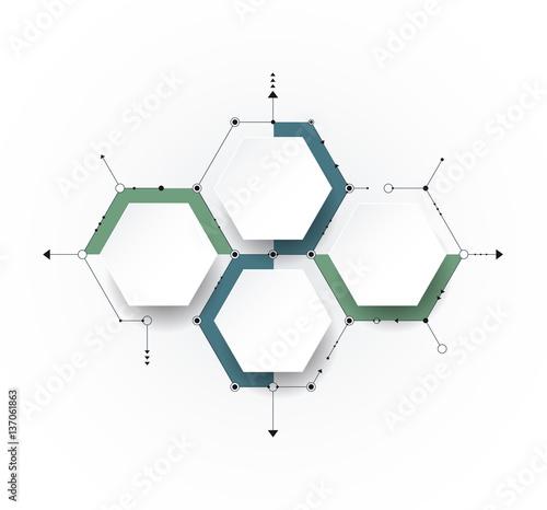 Fotografia  Vector molecule with 3D paper, integrated Hexagon background
