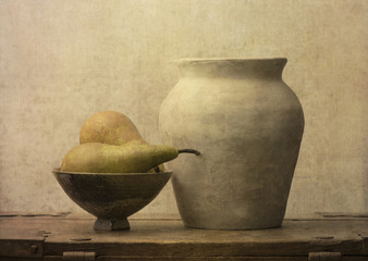 Fruit still life with pears on wooden table. Vintage rustic food image with artistic texture effect.