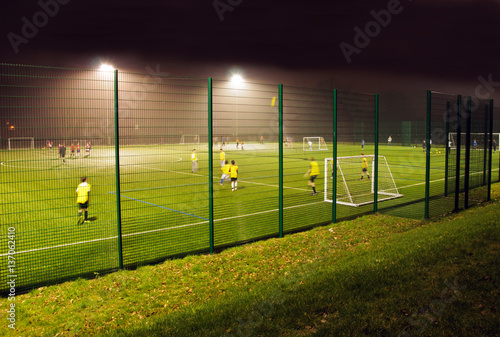 Night football training on an Astroturf facility Canvas Print