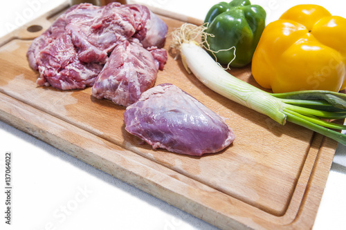Cheek pieces of iberian pork with vegetables Fototapeta