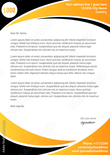 Fototapeta Yellow and black letterhead template obraz